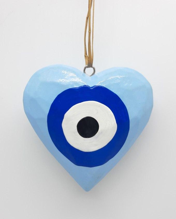 Καρδιά Ματάκι Ξύλινη Χειροποίητη Διαμέτρου 10 cm χρώμα γαλάζιο