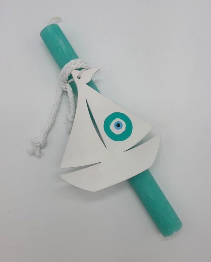Easter Candle Wooden Boat Evil Eye III Turquoise