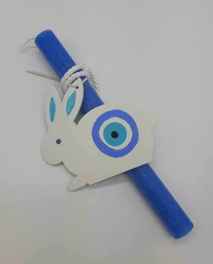 Easter Candle Wooden Bunny Evil Eye Turquoise
