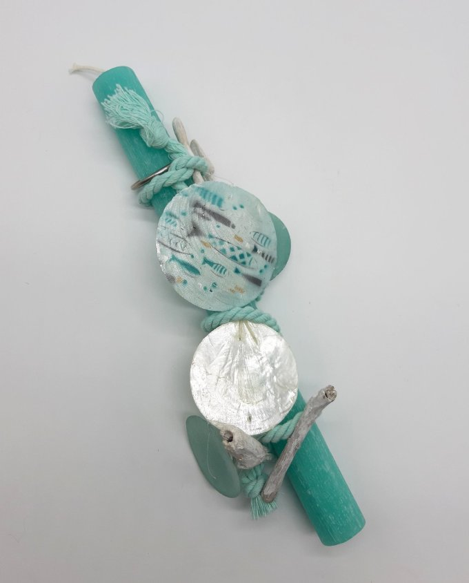 Easter Candle Turquoise Mother Of Pearl