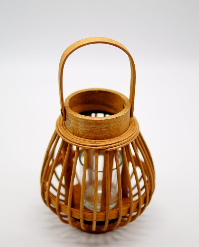 Lantern made of beige color bamboo with glass included