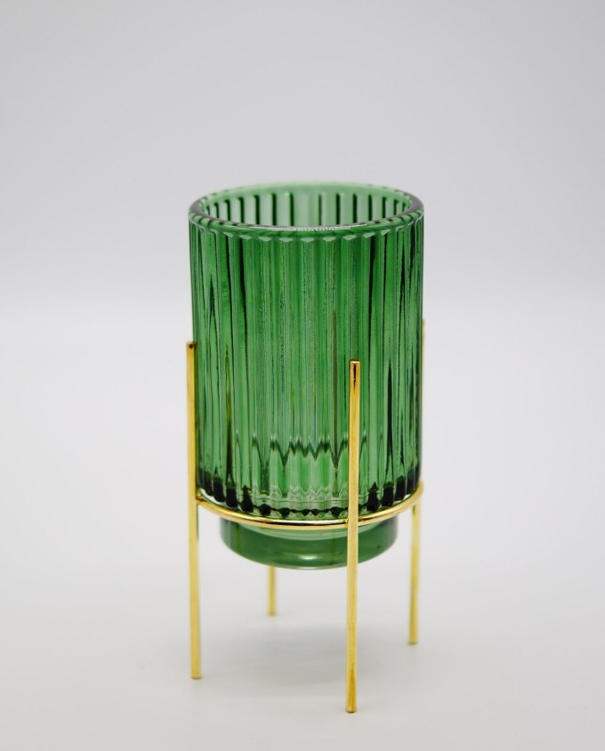 Tealight Green Glass on Metal Stand