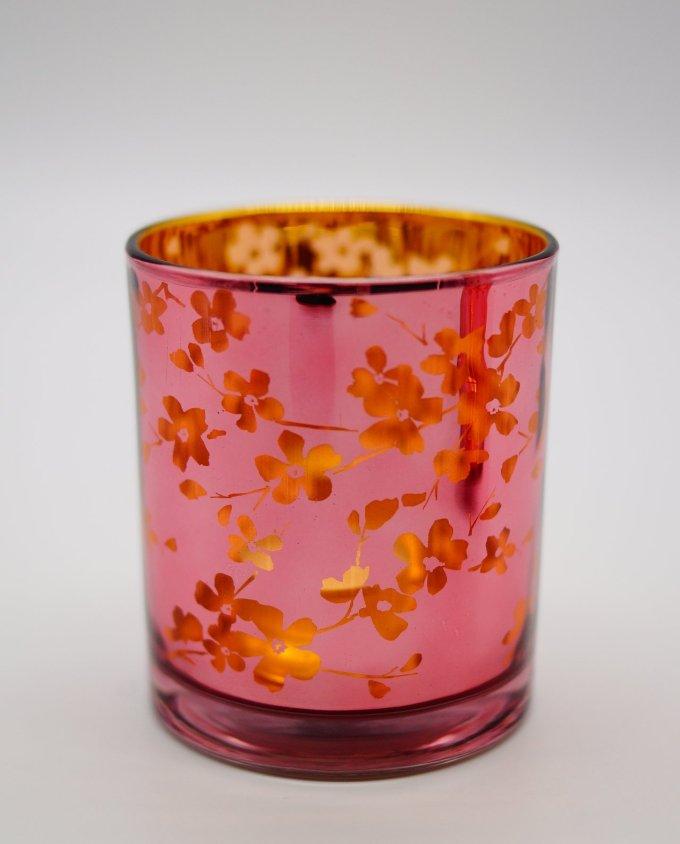 Tealight Votives Pink Japanese Flowers