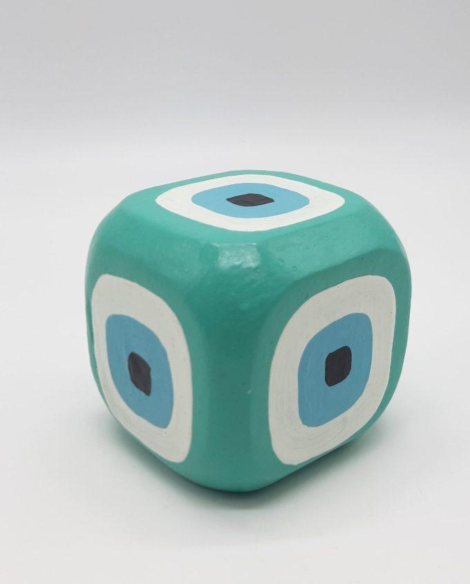 Cube Evil Eye Wooden Handmade 8.5 cm x 8.5 cm x 8.5 cm color turquoise