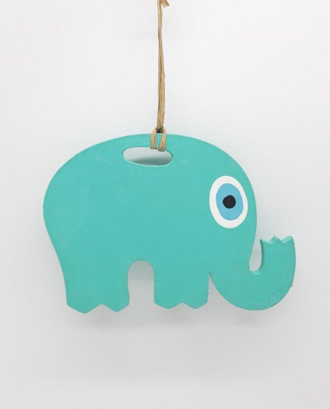 Ελέφαντας Ματάκι Ξύλινος Χειροποίητος Μήκος 18 cm τυρκουάζ