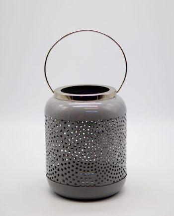 Lantern Metal Grey Pastel Color Height 19.50 cm