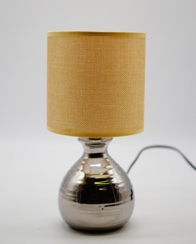 Table Lamp Beige Silver Ceramic Base