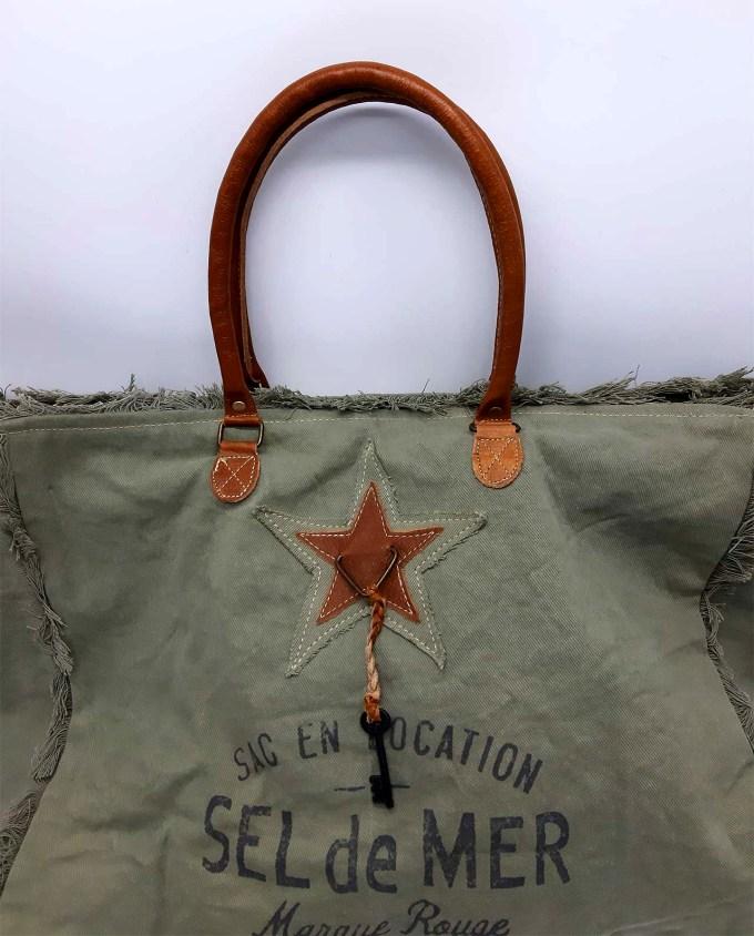 Τσάντα υφασμάτινη cotton μεγάλη για την παραλία με χερούλια δερμάτινα χρώμα λαδί