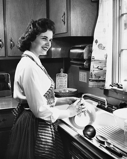 Statement Sink Black and White Photograph Woman Washing Dishes Vintage Kitchen