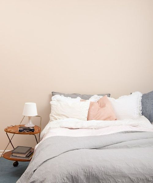 Ideas for Bedrooms Pink Peach and Gray Bed with Bare Walls