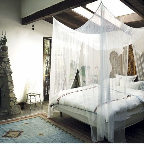 Ideas for Bedrooms Bed with Sheer Canopy and Skylight Rustic Bedroom with Stone Fireplace