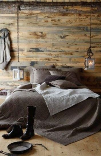 Rustic Interior Design Wood Walls Floor and Gray Bedding Bedroom