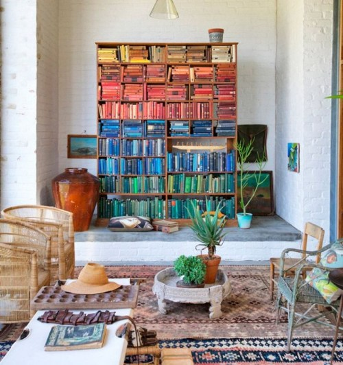 Rainbow Designs Home Decor Books on Large Bookcase