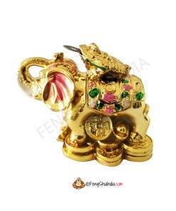 3 Legged Frog on Wish Fulfilling Elephant - Golden
