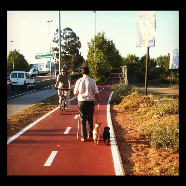 Manuel paseando a sus perros Tor y Odin.