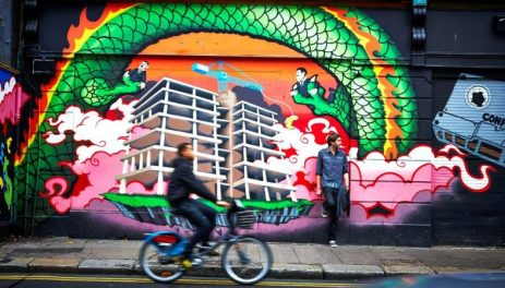 medium-Graffiti quays with bike