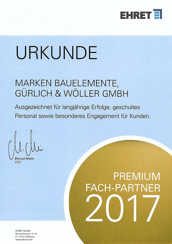 Urkunde: Premium Fach-Partner 2017