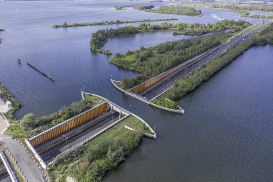 Aqueduct in The Netherlands Allowing Vehicles to Pass Under a Water Bridge