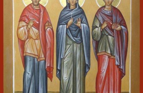 Святии безсребреницы Космо и Дамиане, посетите немощи наша.