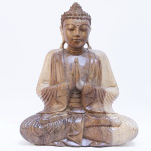 Praying Sitting Buddha Wooden Statue 30cm Light Finish