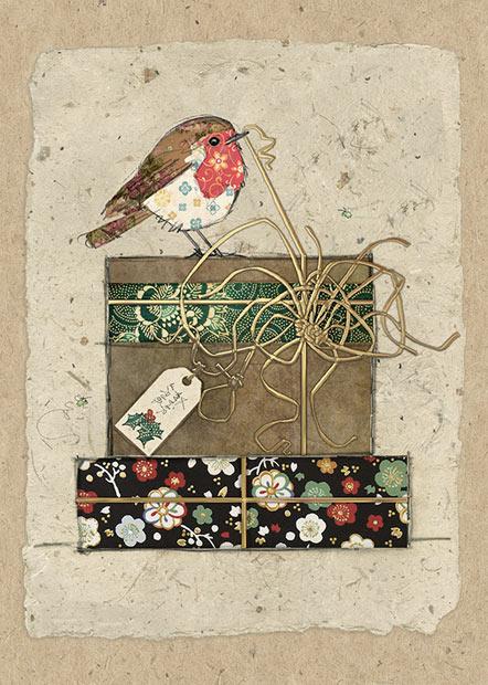 Robin Gifts Bug Art Christmas Card Ferailles
