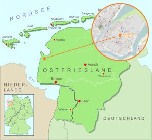 Lage des Ferienhauses Greetsiel Ostfriesland Nordsee