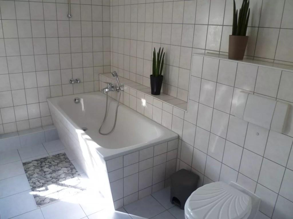 Das große Tageslichtbad verfügt über eine Badewanne, Schminkspiegel und einem Fön.
