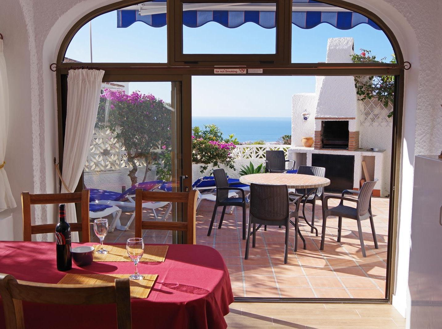 Dining room overlooking the Mediterranean Sea