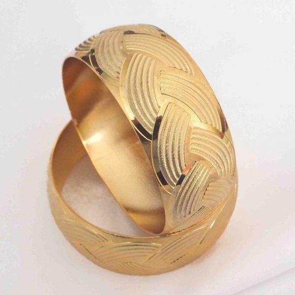 Altın Kaplama Örgü Model Mega Bilezik 30mm Kalınlık