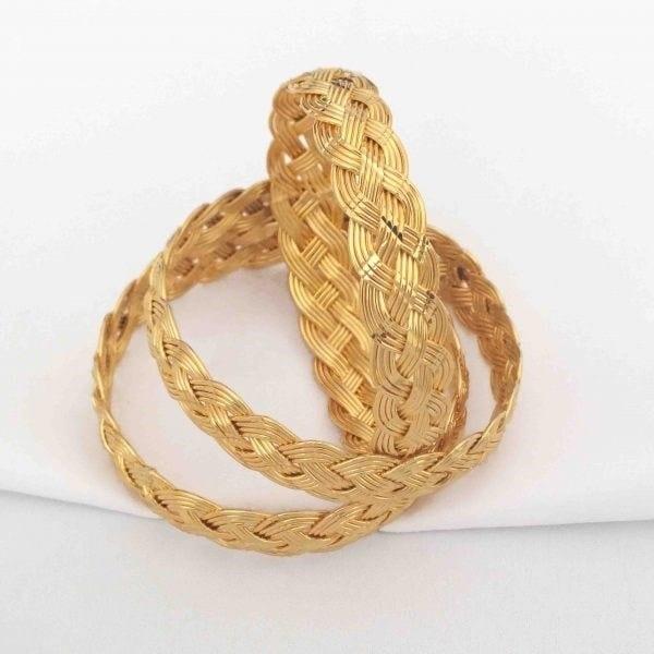 Altın Kaplama Sepet Örgü Bilezik