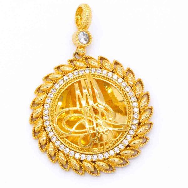 Altın Kaplama Zirkon Taşlı Tuğralı Kolye Ucu TGR-123