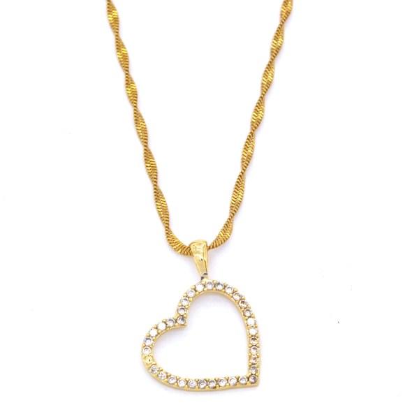 FerizZ Altın Kaplama Zirkon Taşlı Kalpli Kadın Kolye KLY-232