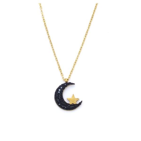 FerizZ Altın Kaplama Siyah Zirkon Taşlı Ay Motifli Bayan Kolye KLY-269