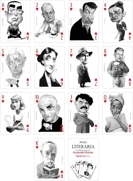 Baraja Literaria de escritores de Fernando Vicente Treboles