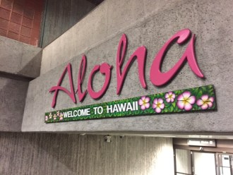 Aloha - Welcome to Hawaii - bei Ankunft auf dem Airport