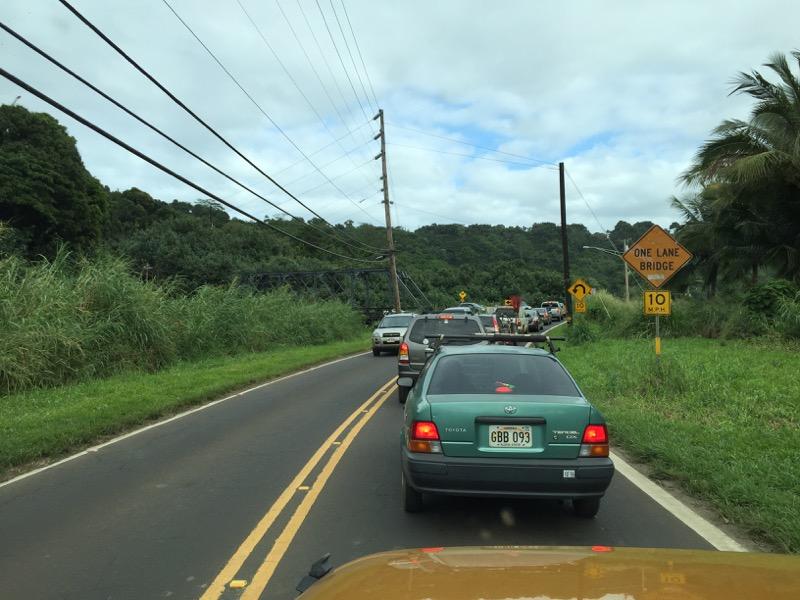 Kauai Hawaii - Hanalai - auf dem Heimweg immer Stau an der Brücke