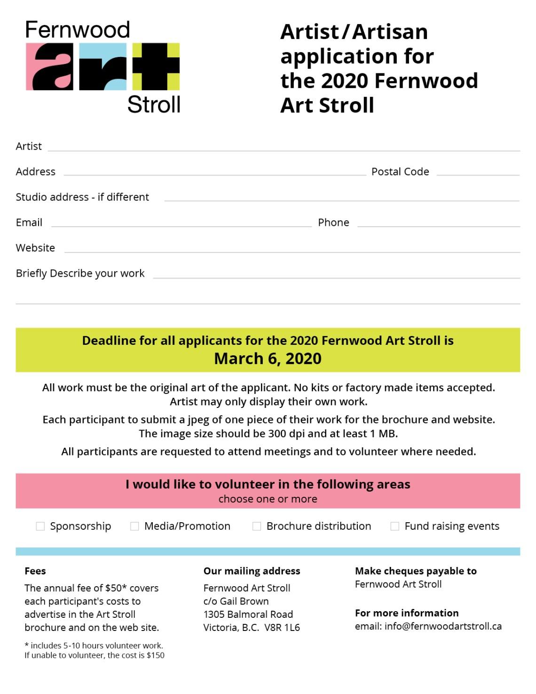 Fernwood Art Stroll - membership form