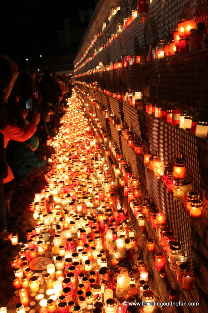 Lighting Candles for Lacplesis Day in Riga, Latvia.