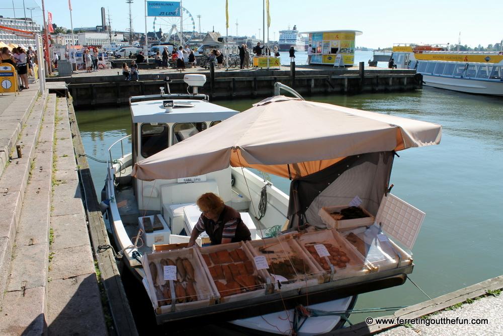 Helsinki harbor market fresh fish