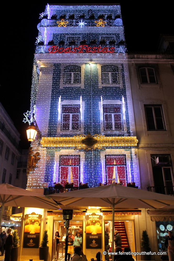 Christmas lights in Lisbon, Portugal