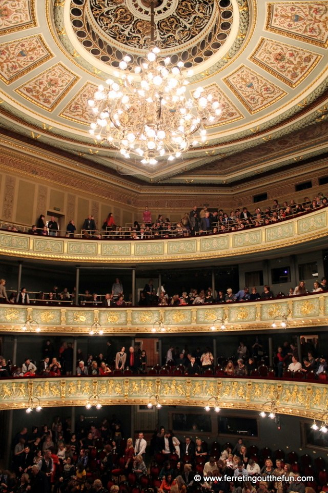 The stunning interior of the Latvian National Opera House in Riga.