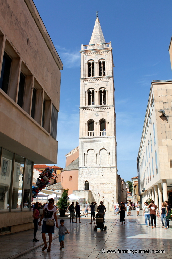 Ancient bell tower in Zadar, Croatia