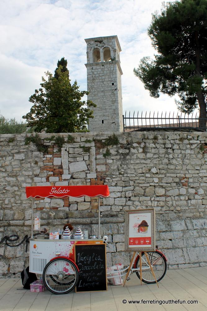 A gelato stand in Porec, Croatia