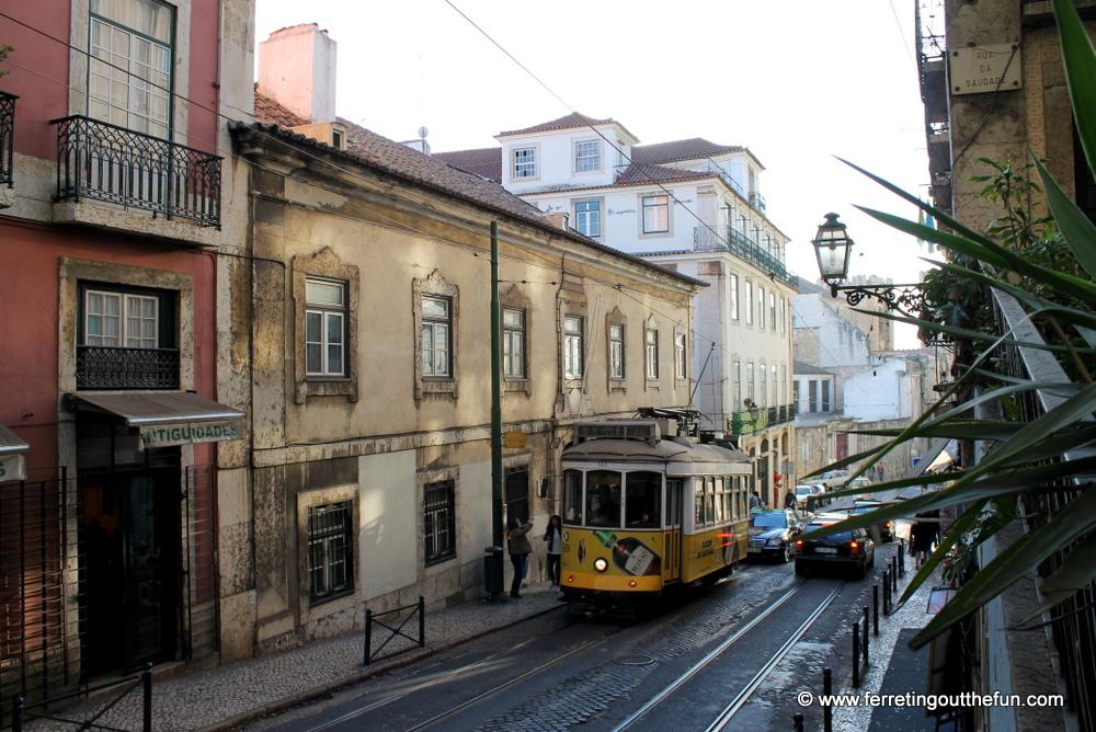 yellow tram alfama lisbon