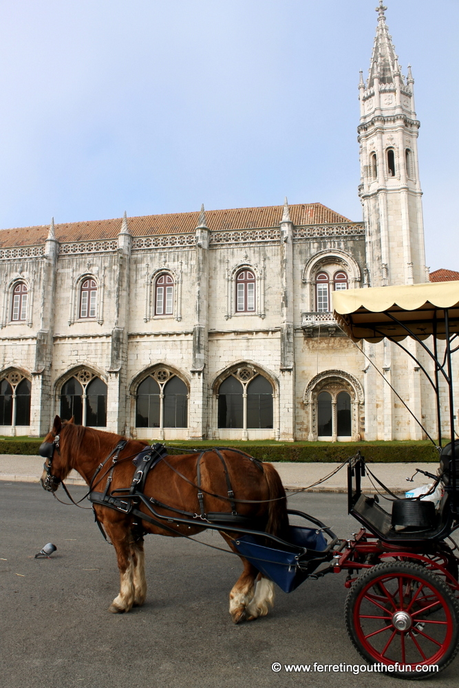 A horse and buggy await customers outside Jeronimos Monastery in Lisbon, Portugal.