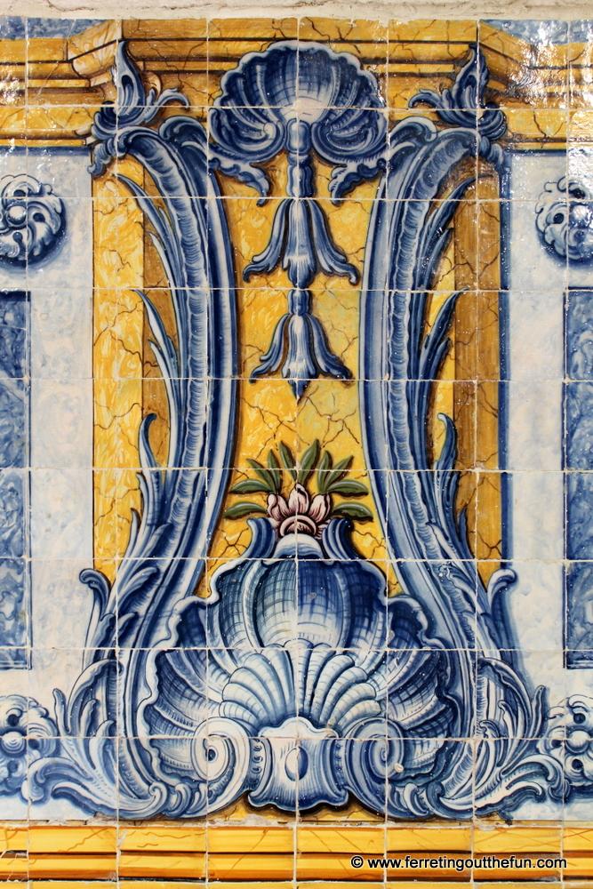 Ocean inspired tiles inside Jeronimos Monastery in Lisbon, Portugal.