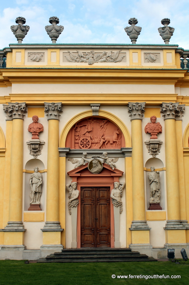 A doorway to Wilanow Palace in Warsaw, Poland