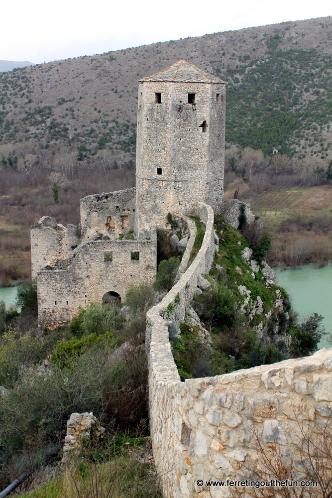 Medieval castle ruins on a mountain in Pocitelj, Bosnia and Herzegovina