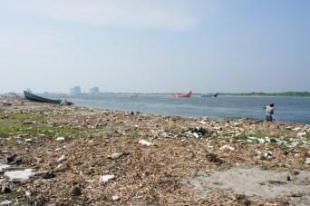 Das strahlende Blau des Wassers der Backwater und der Strände auf meinen Bildern spiegelt nicht ganz die Realität wieder: Die Strände (hier in Cochin) und Backwater sind extrem mit Müll verschmutzt. An Baden gehen ist nicht zu denken