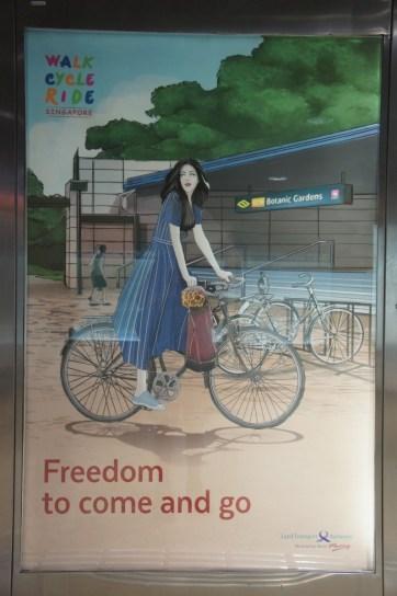 Plakat einer Werbetafel, die zum Umsteigen auch auf das Rad ermutigen soll. Der Radverkehr hat in Singapur einen sehr geringen Modal Share. In meiner Wahrnehmung ist der Radverkehr gar nicht existent